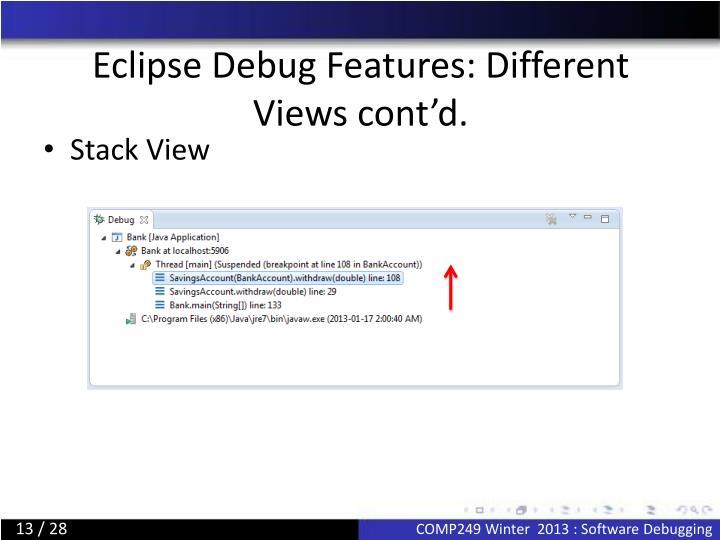 Eclipse Debug Features: Different Views cont'd.