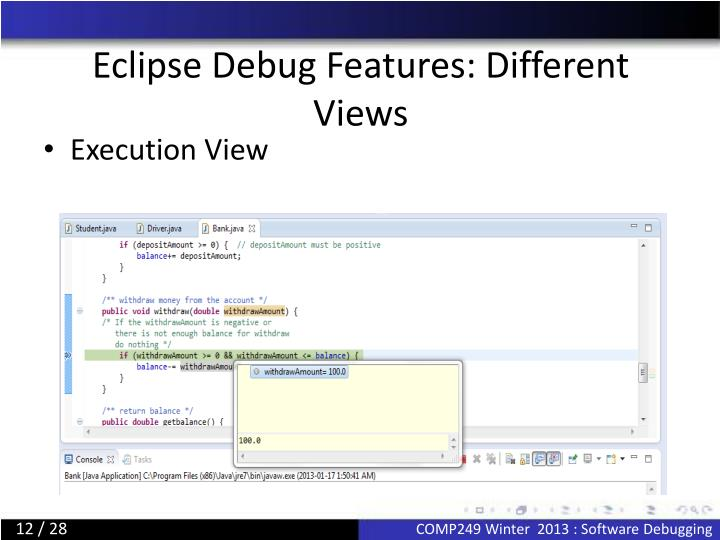 Eclipse Debug Features: Different Views