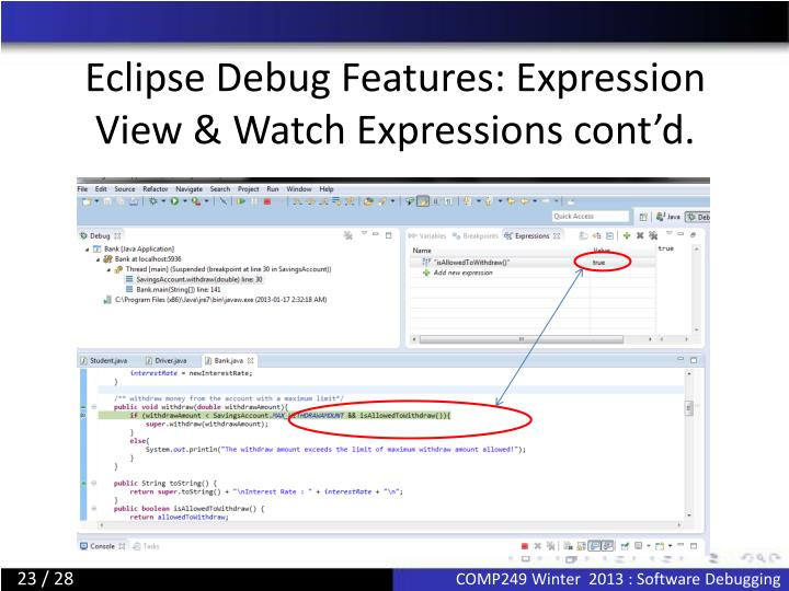 Eclipse Debug Features: Expression View & Watch Expressions cont'd.