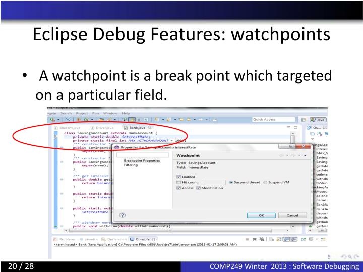 Eclipse Debug Features: watchpoints