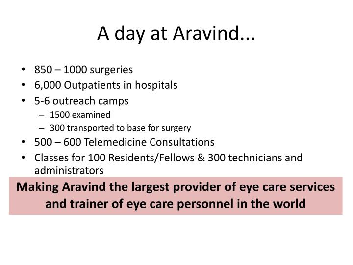 aravind eye care Aravind eye care system is the largest and most productive eye care provider in the world.