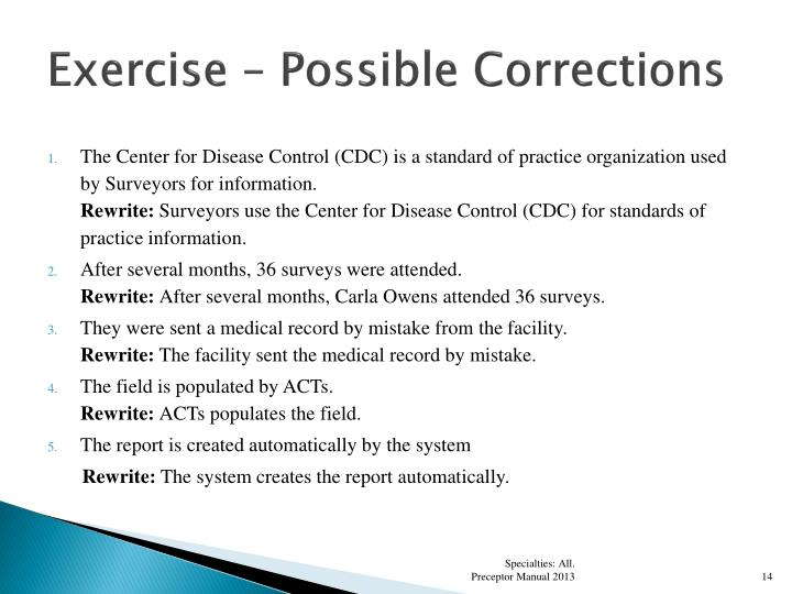 Exercise – Possible Corrections