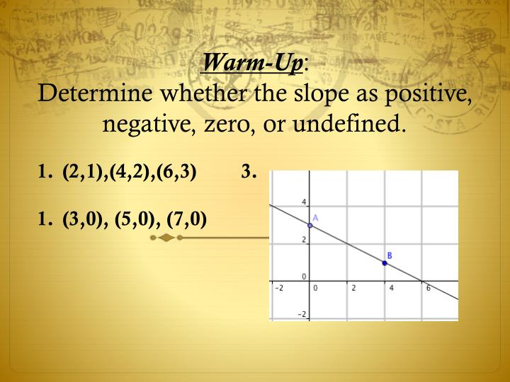 warm up determine whether the slope as positive negative zero or undefined n.