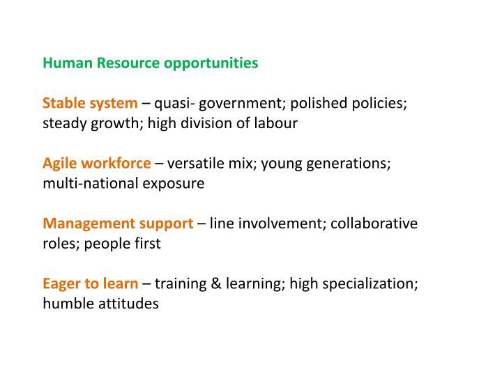 Human Resource opportunities