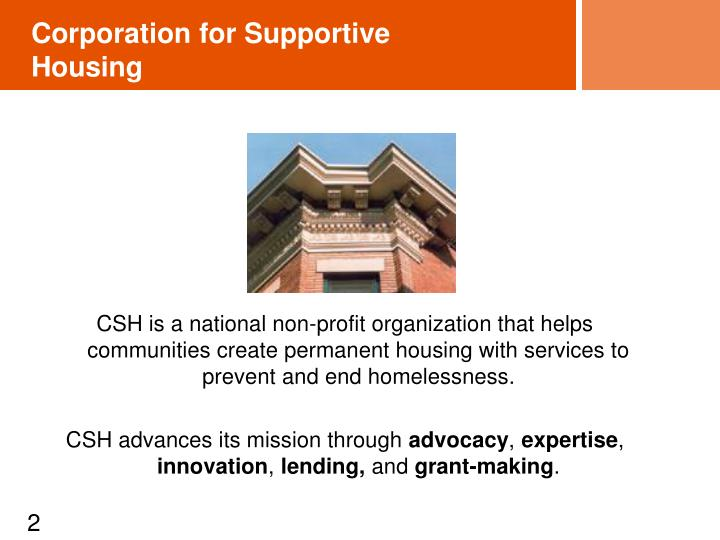 Corporation for supportive housing