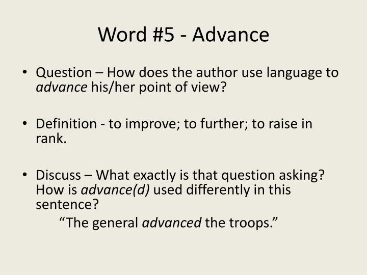 Word #5 - Advance
