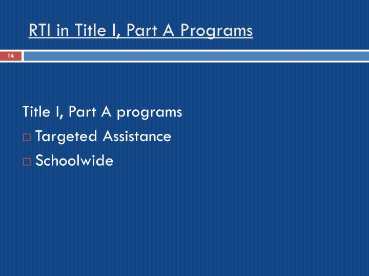 RTI in Title I, Part A Programs
