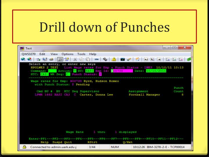 Drill down of Punches