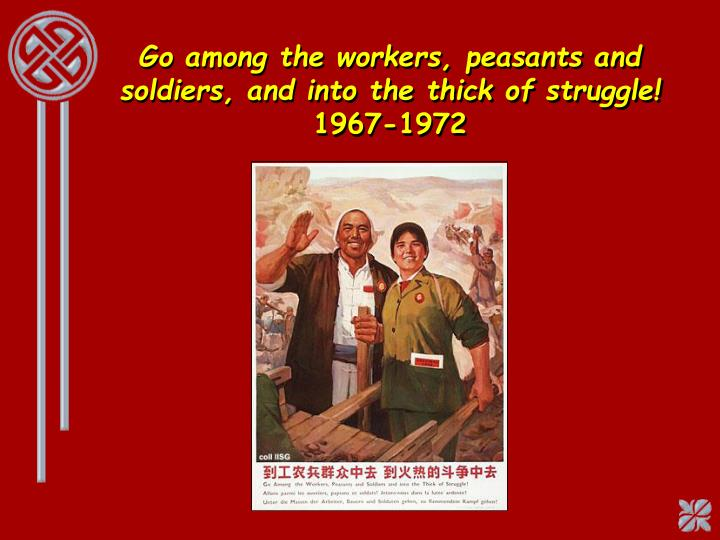 Go among the workers, peasants and soldiers, and into the thick of struggle!