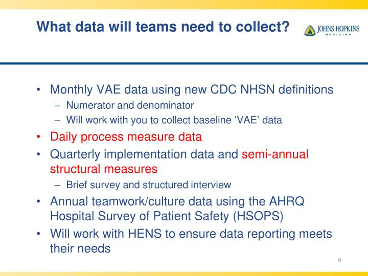 What data will teams need to collect?