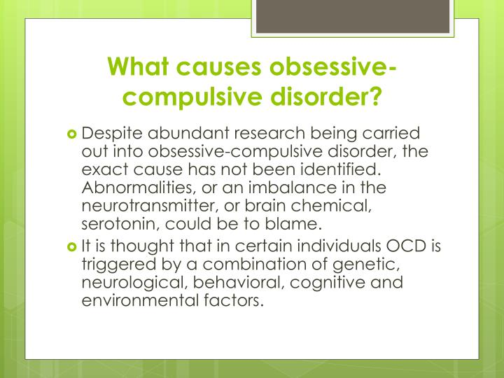 the features of obsessive compulsive disorder Obsessive-compulsive disorder, or ocd, is an anxiety disorder that generally causes extreme discomfort sufferers are often riddled with persistent and recurrent.