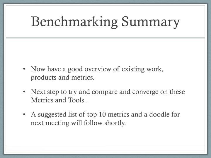 Benchmarking Summary