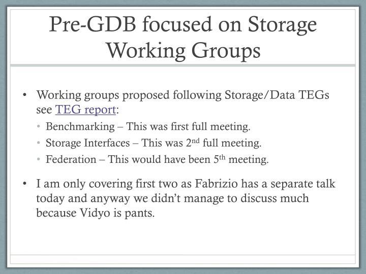 Pre gdb focused on storage working groups