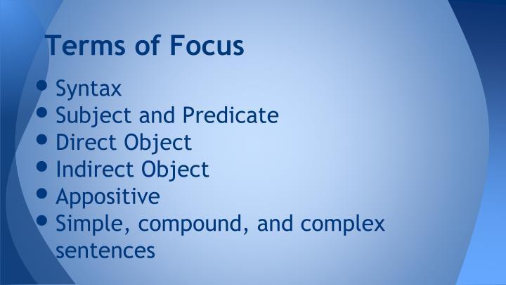 Terms of focus