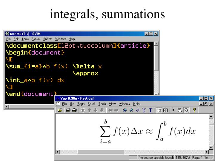 integrals, summations