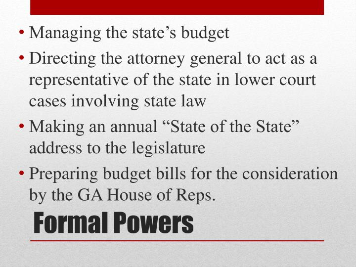 Managing the state's budget