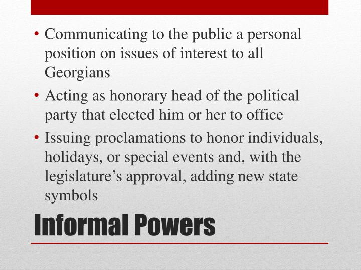 Communicating to the public a personal position on issues of interest to all Georgians