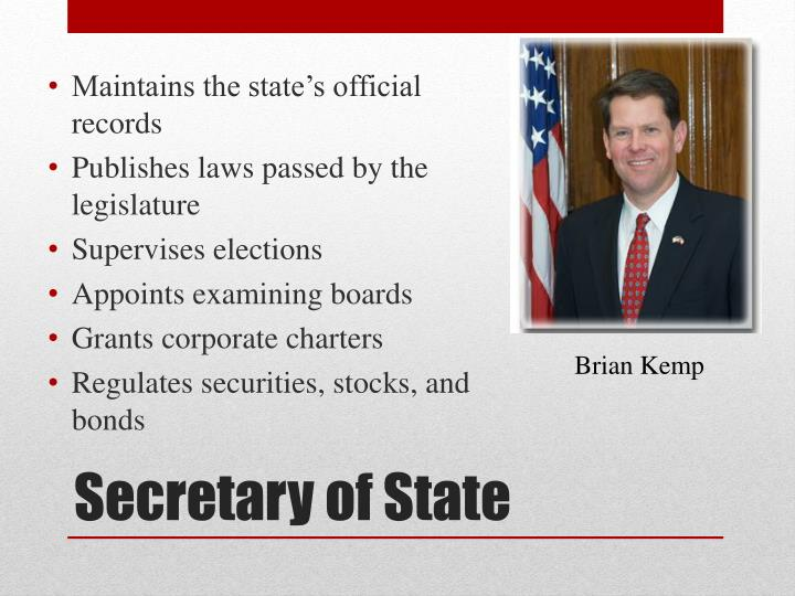 Maintains the state's official records