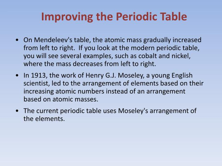 Improving the Periodic Table
