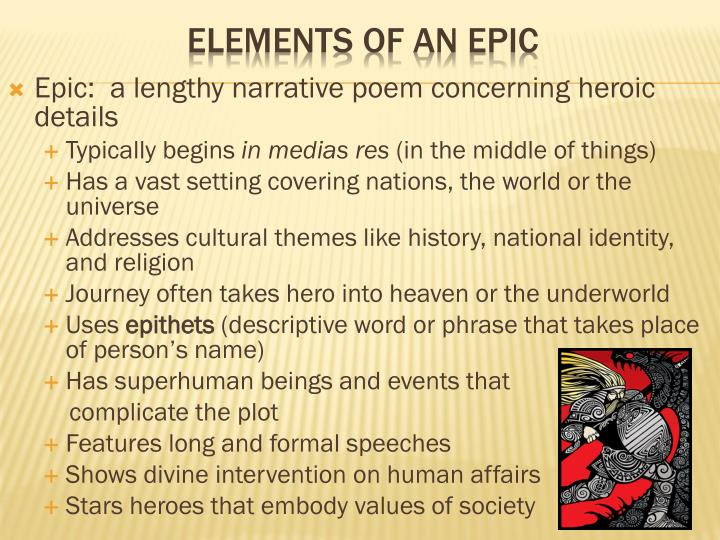 elements of an epic poem