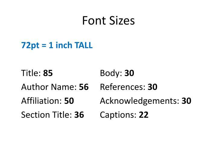 Font Sizes