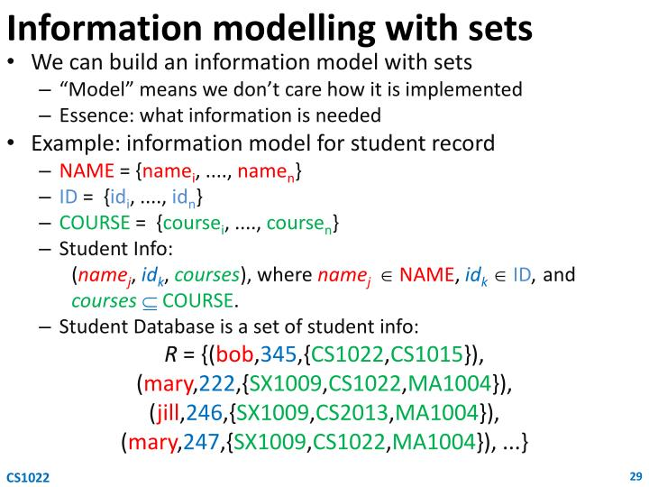 Information modelling with sets