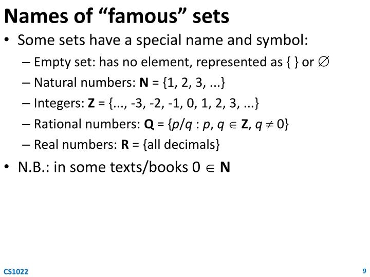 """Names of """"famous"""" sets"""