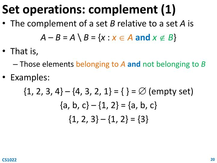 Set operations: complement (1)