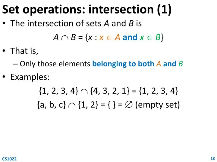 Set operations: intersection (1)
