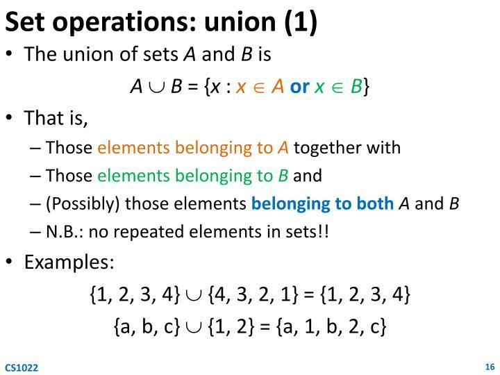 Set operations: union (1)