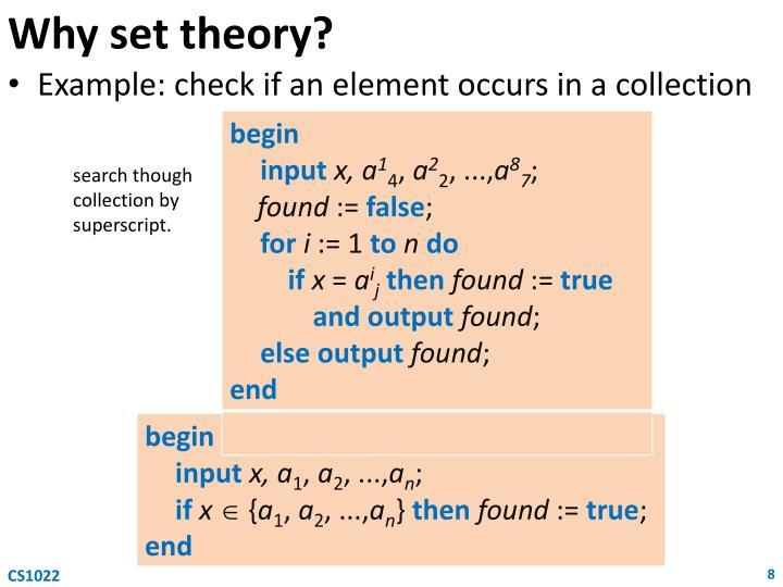 Why set theory?