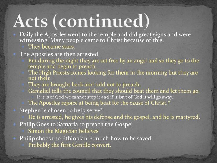 Acts (continued)