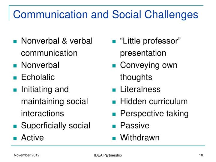 Communication and Social Challenges