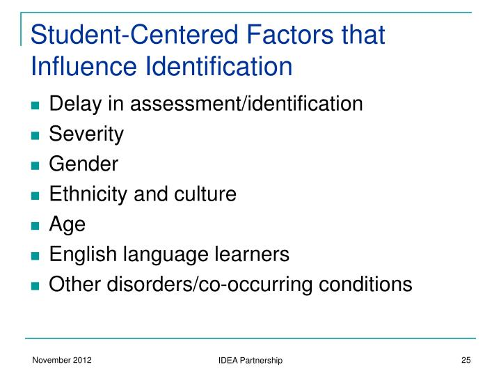 Student-Centered Factors that Influence Identification