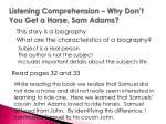 listening comprehension why don t you get a horse sam adams