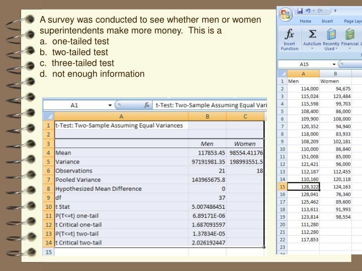 A survey was conducted to see whether men or women