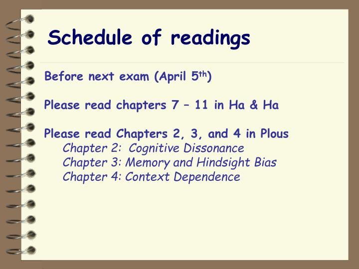 Schedule of readings
