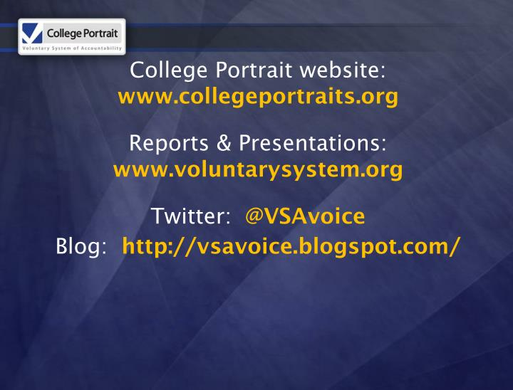 College Portrait website:
