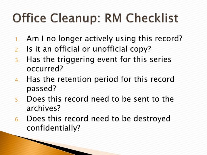 Office Cleanup: RM Checklist