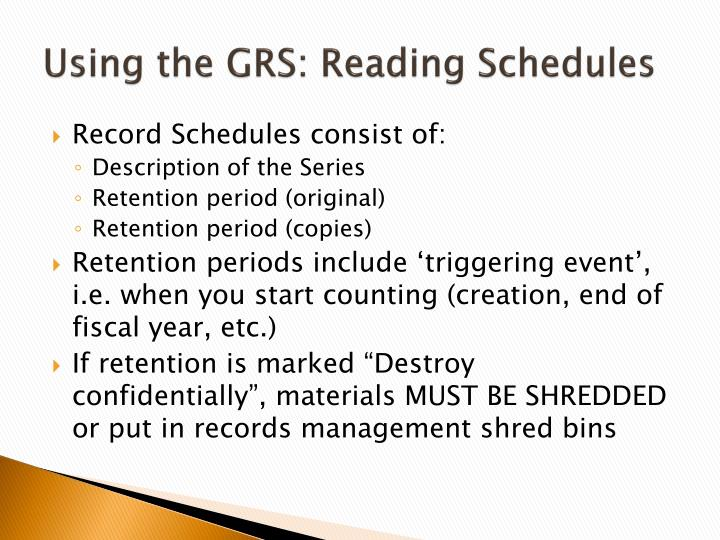 Using the GRS: Reading Schedules