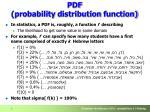 pdf probability d istribution f unction