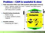 problem cam is wasteful slow