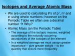 isotopes and average atomic mass
