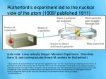 rutherford s experiment led to the nuclear view of the atom 1909 published 1911