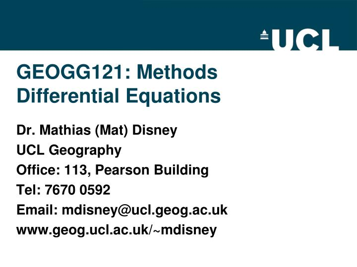 geogg121 methods differential equations