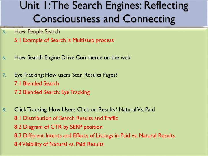 Unit 1 the search engines reflecting consciousness and connecting1