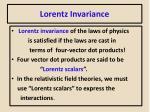 lorentz invariance