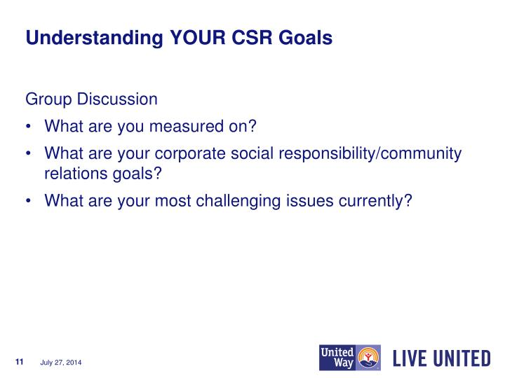 Understanding YOUR CSR Goals