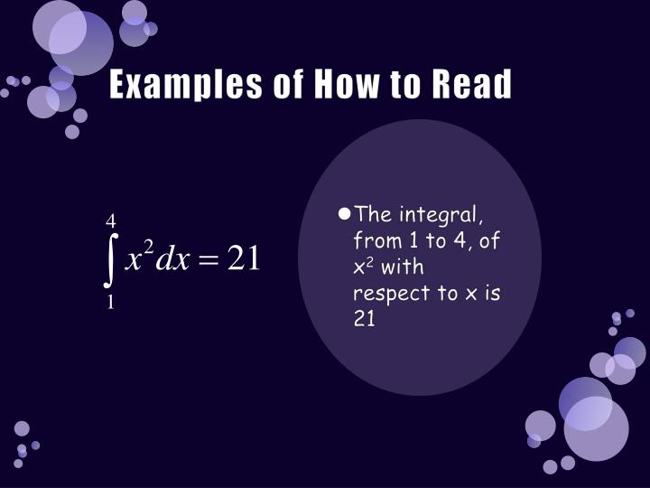 Examples of How to Read