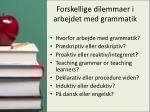 forskellige dilemmaer i arbejdet med grammatik
